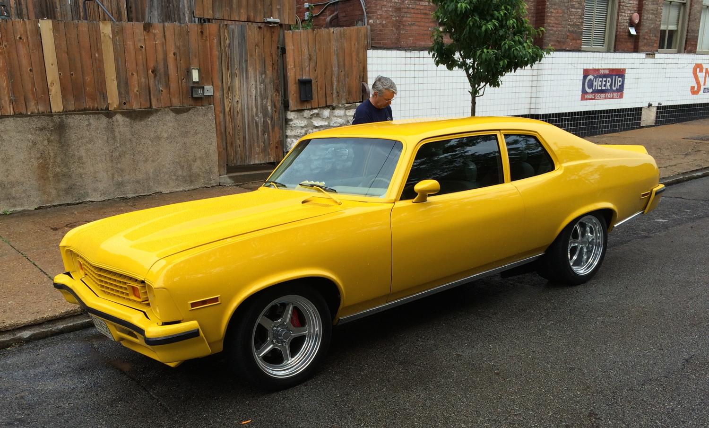 1973 Chevrolet Nova Hatchback, Yellow, Mag Wheels